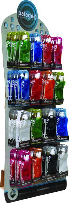 Verkaufsstand aus Karton für 96 Trinkbeutel Kinzig mit 16 Haken